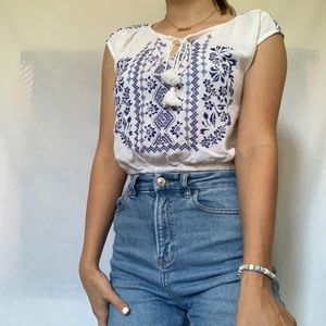 cute blue and white crop top
